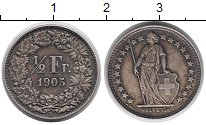 Изображение Монеты Швейцария 1/2 франка 1905 Серебро XF