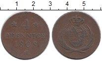 Изображение Монеты Германия Саксония 4 пфеннига 1808 Медь XF
