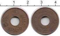 Изображение Монеты Палестина 5 милс 1942 Бронза XF Британский мандат.