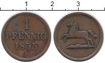 Изображение Монеты Германия Брауншвайг-Вольфенбюттель 1 пфенниг 1855 Медь XF-