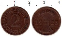 Изображение Монеты Веймарская республика 2 пфеннига 1923 Бронза XF