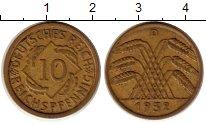 Изображение Монеты Веймарская республика 10 пфеннигов 1932 Латунь XF