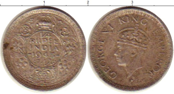 Картинка Монеты Индия 1/4 рупии Серебро 1943