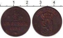 Изображение Монеты Гессен-Кассель 1/2 крейцера 1834 Медь VF