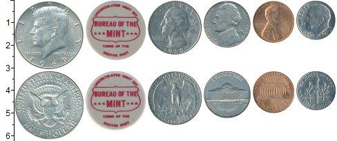 Изображение Наборы монет США США 1969 1969  UNC- В наборе 5 монет ном