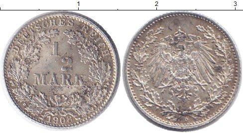 Картинка Монеты Германия 1/2 марки Серебро 1908