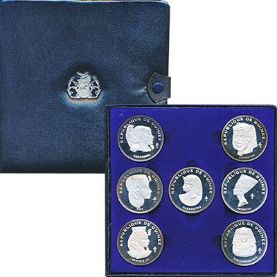 Изображение Подарочные монеты Гвинея Древний Египет 1970 Серебро Proof- В набор входят семь
