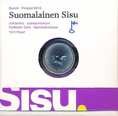 Изображение Подарочные монеты Финляндия 10 евро 2015 Серебро UNC Сису - особенность ф