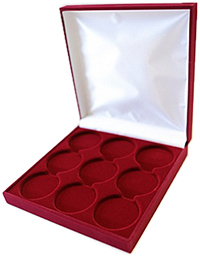 Изображение Аксессуары для монет Бархат Подарочный футляр на 9 монет в капсулах (Ø ячеек 44мм) 0   Футляр (160х160х33 м