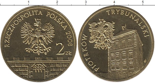 Картинка Мелочь Польша 2 злотых Латунь 2008