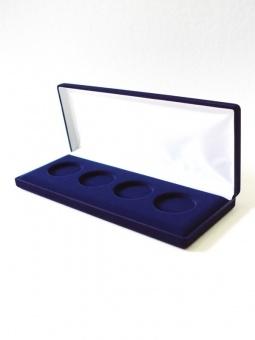 Изображение Аксессуары для монет Бархат Подарочный футляр на 4 монеты в капсулах (Ø ячеек 46мм) 0   Футляр (103х255х27 м