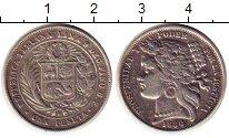 Изображение Монеты Перу 1 песета 1880 Серебро XF- Герб
