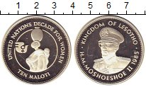 Изображение Монеты Лесото 10 малоти 1985 Серебро Proof-