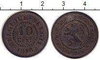 Изображение Монеты Бельгия 10 центов 1916 Цинк XF
