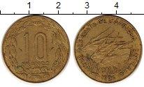 Изображение Монеты Центральная Африка 10 франков 1984 Латунь XF