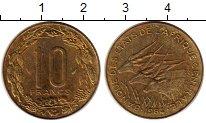 Изображение Монеты Центральная Африка 10 франков 1984 Латунь UNC- Антилопы