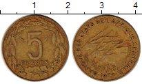 Изображение Монеты Центральная Африка 5 франков 1979 Латунь XF Антилопы