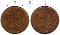 Изображение Монеты Исландия 50 аурар 1971 Латунь XF Герб Исландии