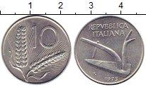 Изображение Монеты Италия 10 лир 1975 Алюминий UNC Плуг