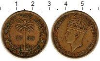 Монета Западная Африка 1 шиллинг Латунь 1938 XF