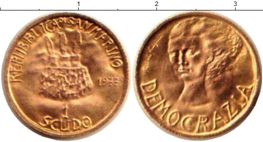 Картинка Монеты Сан-Марино 1 скудо Золото 1977