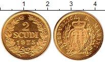 Изображение Монеты Сан-Марино 2 скуди 1975 Золото UNC KM# 50, вес 6 грамма