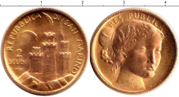 Картинка Монеты Сан-Марино 2 скуди Золото 1976