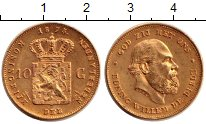 Изображение Монеты Нидерланды 10 гульденов 1875 Золото UNC-
