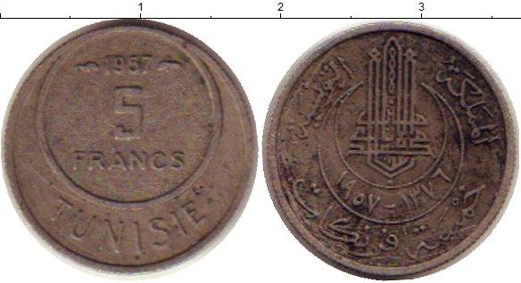 Картинка Монеты Тунис 5 франков Медно-никель 1957