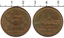 Изображение Монеты Финляндия 5 марок 1972 Латунь XF Ледокол