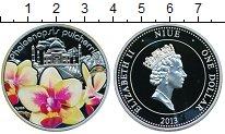Изображение Подарочные монеты Ниуэ 1 доллар 2013 Серебро Proof Монета Желтая орхиде
