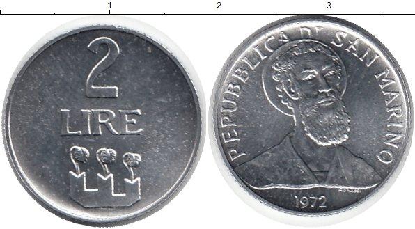 Картинка Монеты Сан-Марино 2 лиры Алюминий 1972