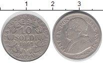Изображение Монеты Ватикан 10 сольди 1867 Серебро VF Понтифик  Пий IX