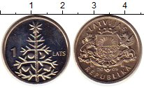 Изображение Монеты Латвия 1 лат 2009 Медно-никель UNC-