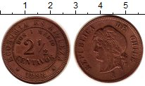 Изображение Монеты Чили 2 1/2 сентаво 1898 Медь XF