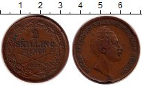 Изображение Монеты Швеция 2 скиллинга 1847 Медь XF- Оскар I