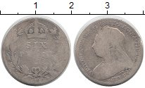 Изображение Монеты Великобритания 6 пенсов 1896 Серебро VF Виктория