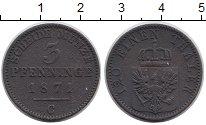 Изображение Монеты Пруссия 3 пфеннига 1871 Медь XF С