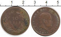 Изображение Монеты Португалия 10 рейс 1891 Медь XF Карлуш I