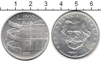 Изображение Монеты Италия 1.000 лир 2001 Серебро UNC- Джузеппе Верди