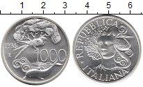 Изображение Монеты Италия 1.000 лир 1994 Серебро UNC Дельфин,птица