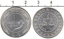 Изображение Монеты Италия 1 лира 2001 Серебро UNC Прощание с лирой