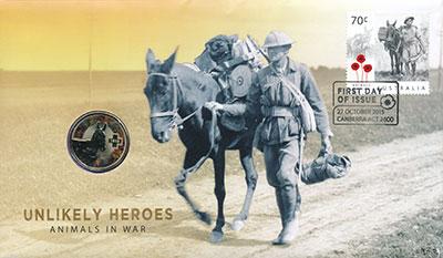 Изображение Подарочные монеты Австралия Неназванные герои войны, Осел по имени Мерфи, 2015  AUNC Данный набор входит