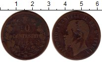 Изображение Монеты Италия 10 чентезимо 1866 Медь VF Витторио Имануил II