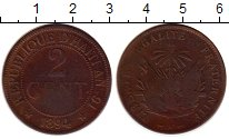 Изображение Монеты Гаити 2 сантима 1894 Медь VF
