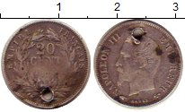 Изображение Монеты Франция 20 сантим 0 Серебро VF