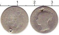 Изображение Монеты Великобритания 3 пенса 0 Серебро F Отверстие.   Виктори
