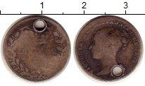 Изображение Монеты Великобритания 3 пенса 1852 Серебро F Отверстие.   Виктори