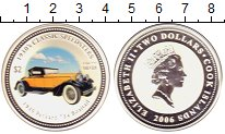 Изображение Монеты Острова Кука 2 доллара 2006 Серебро Proof Ретро-автомобили. Па
