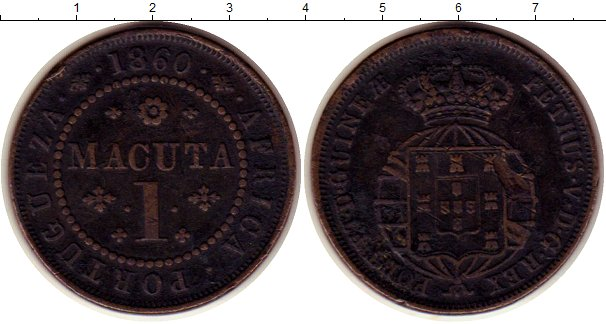 Картинка Монеты Ангола 1 макута Медь 1860
